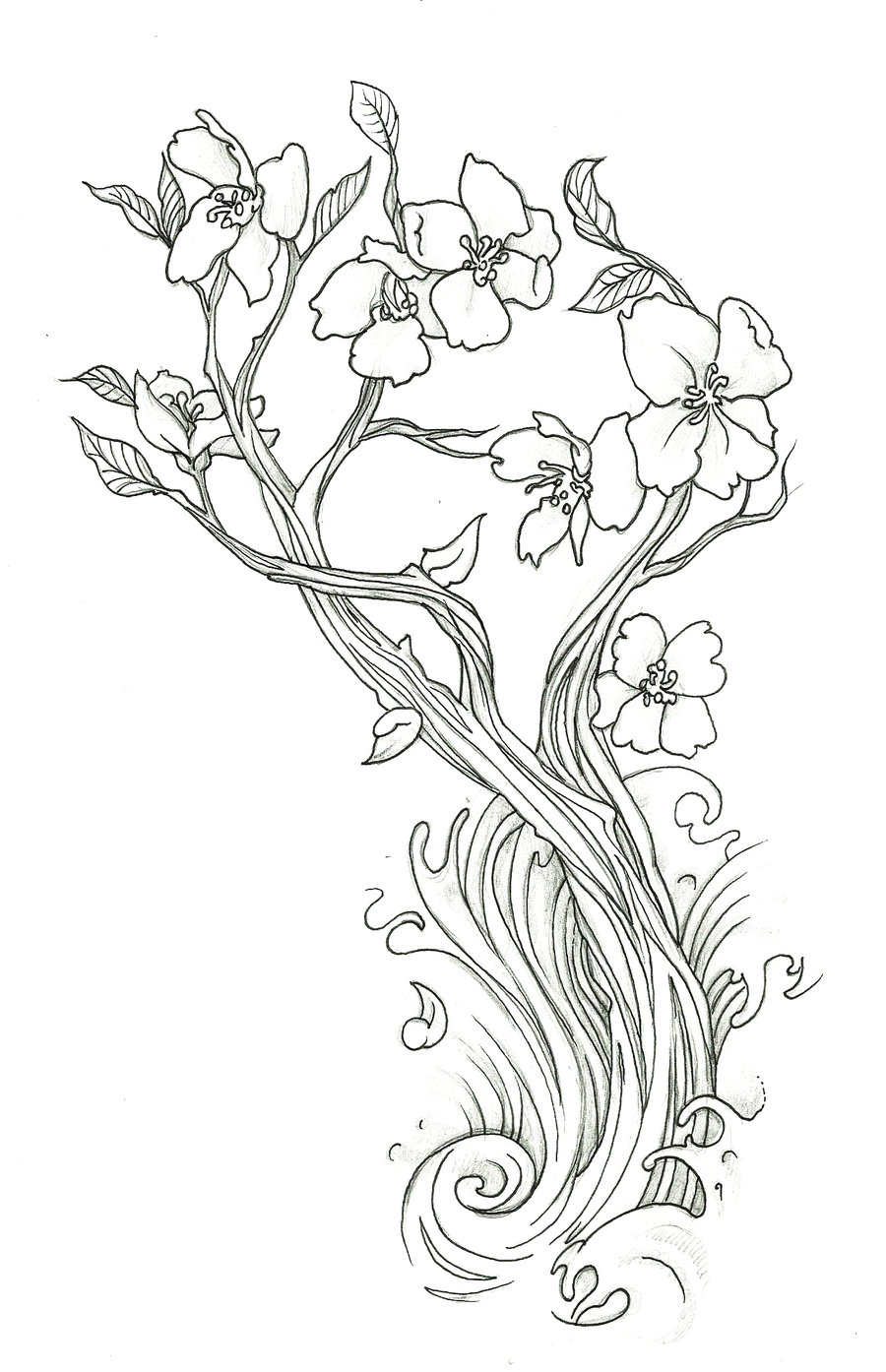 Sakura Tree coloring #6, Download drawings