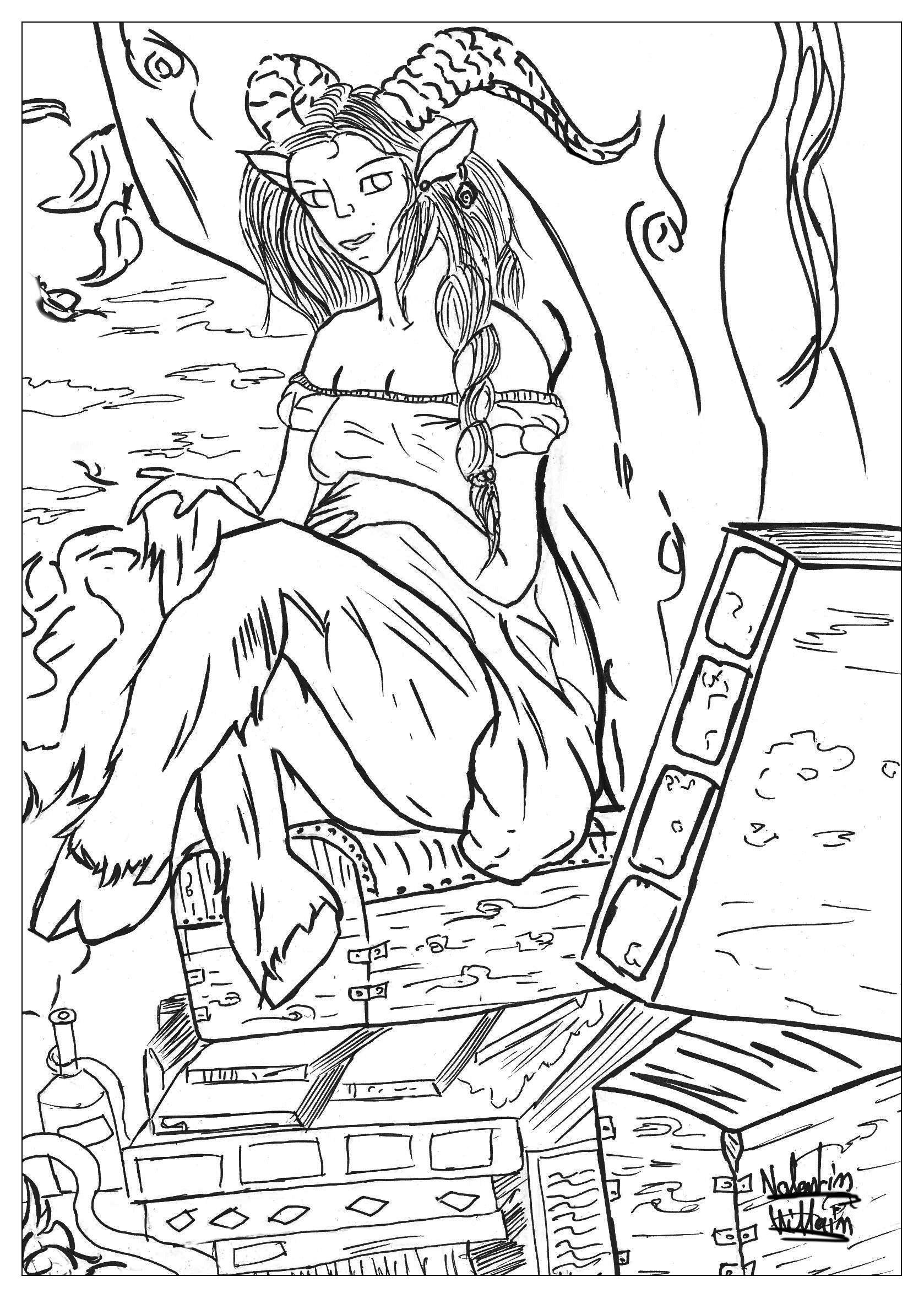 Satyr coloring #4, Download drawings