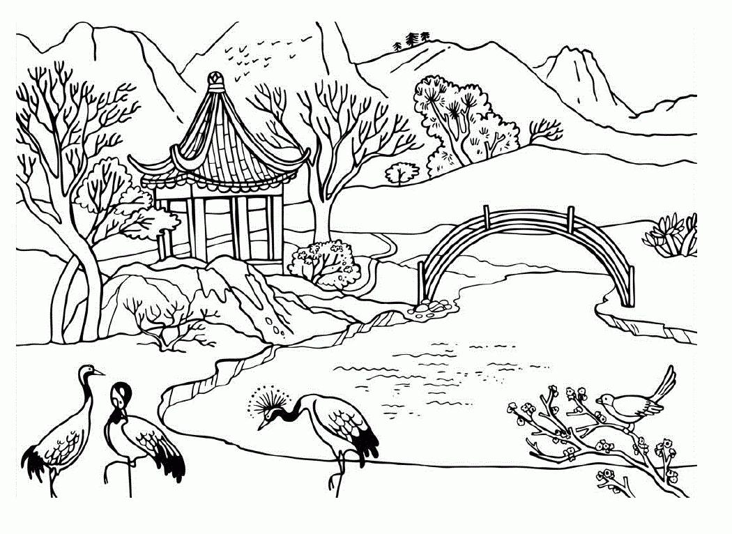 Scenery coloring #7, Download drawings