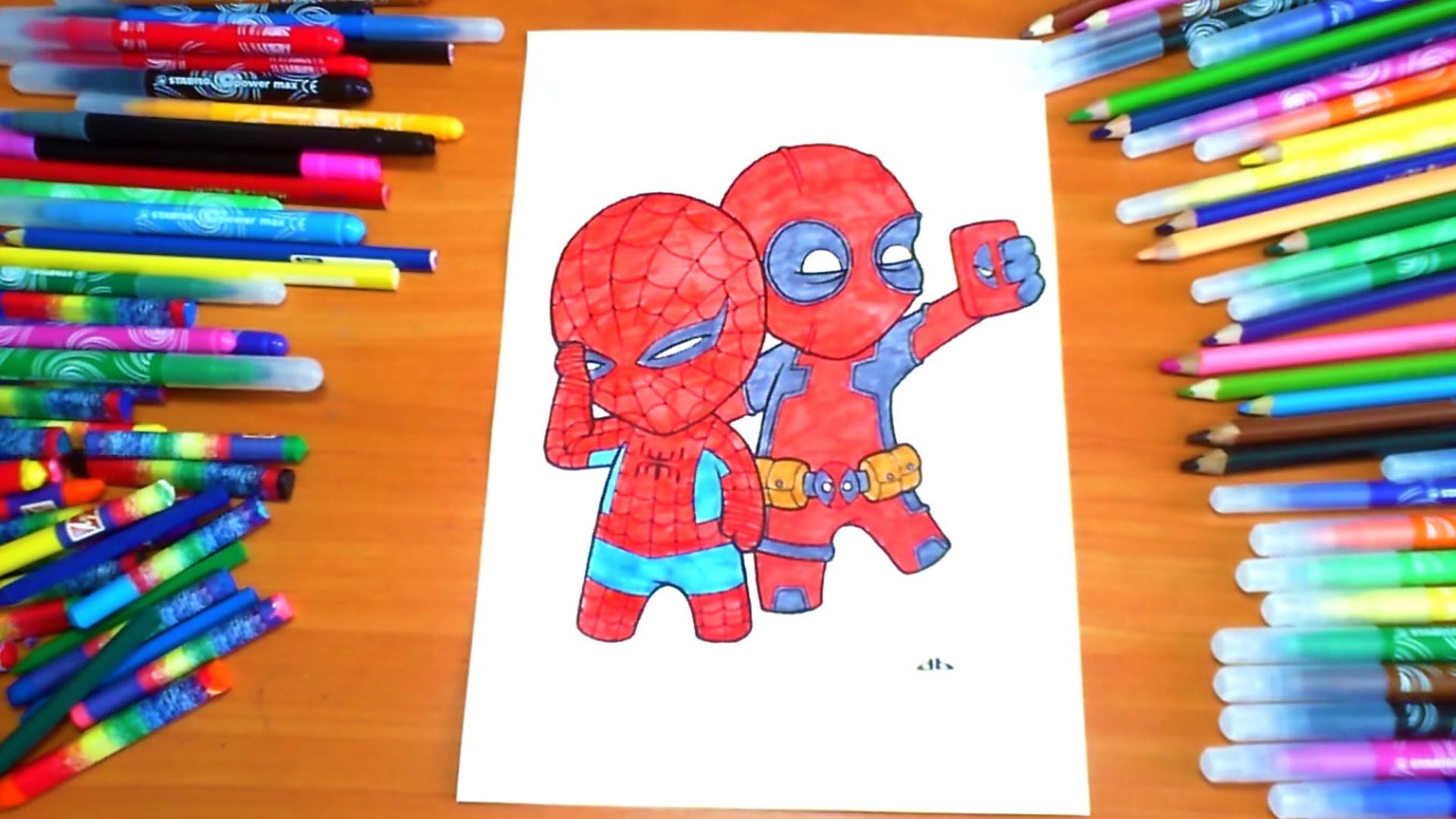 Deadpool Spiderman Selfie Coloring Page