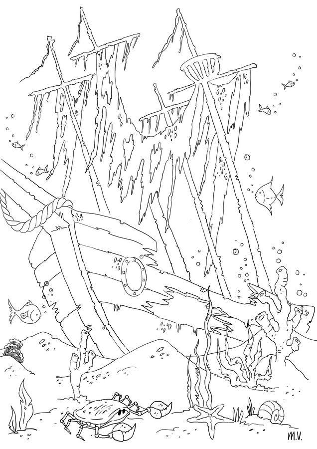 Shipwreck coloring #12, Download drawings