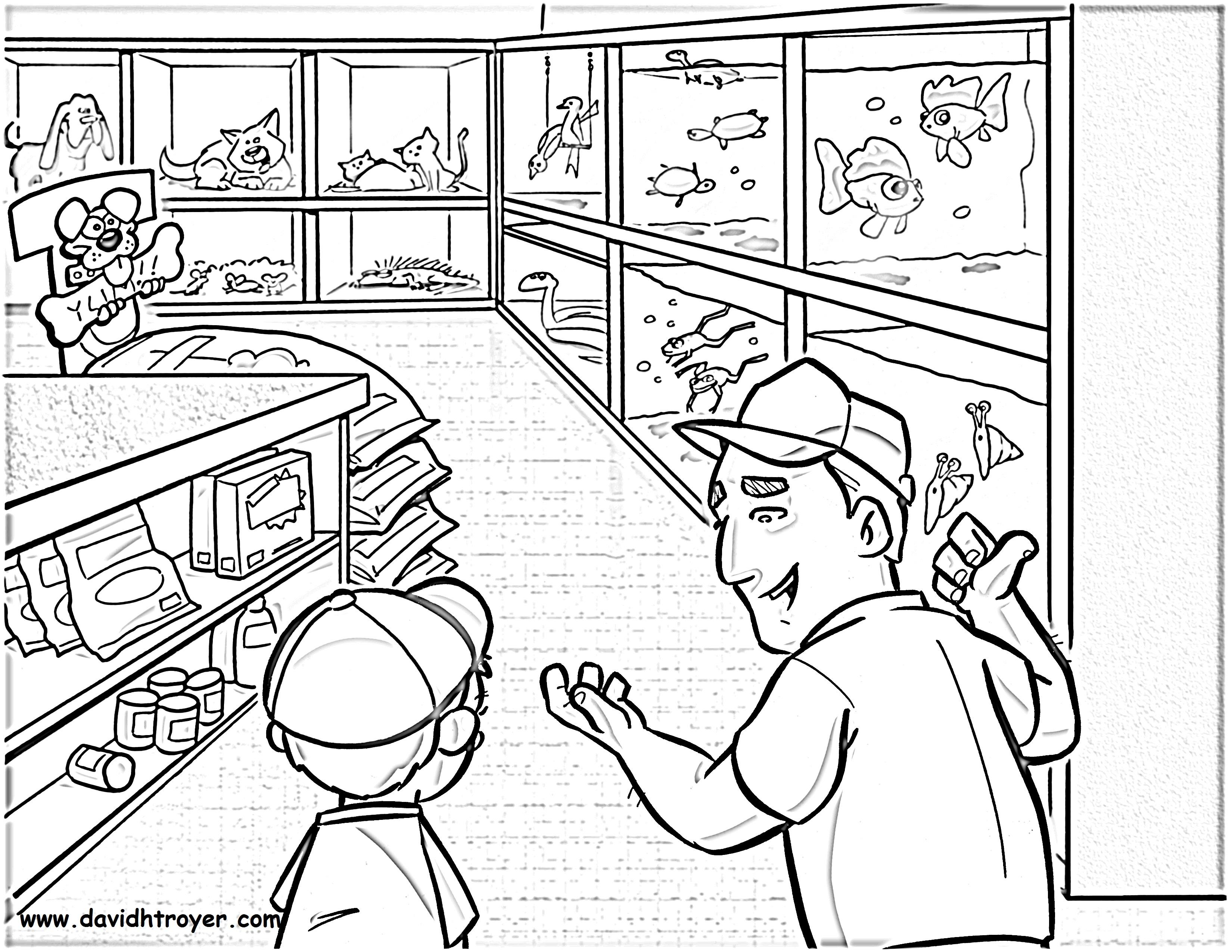 Shop coloring #3, Download drawings