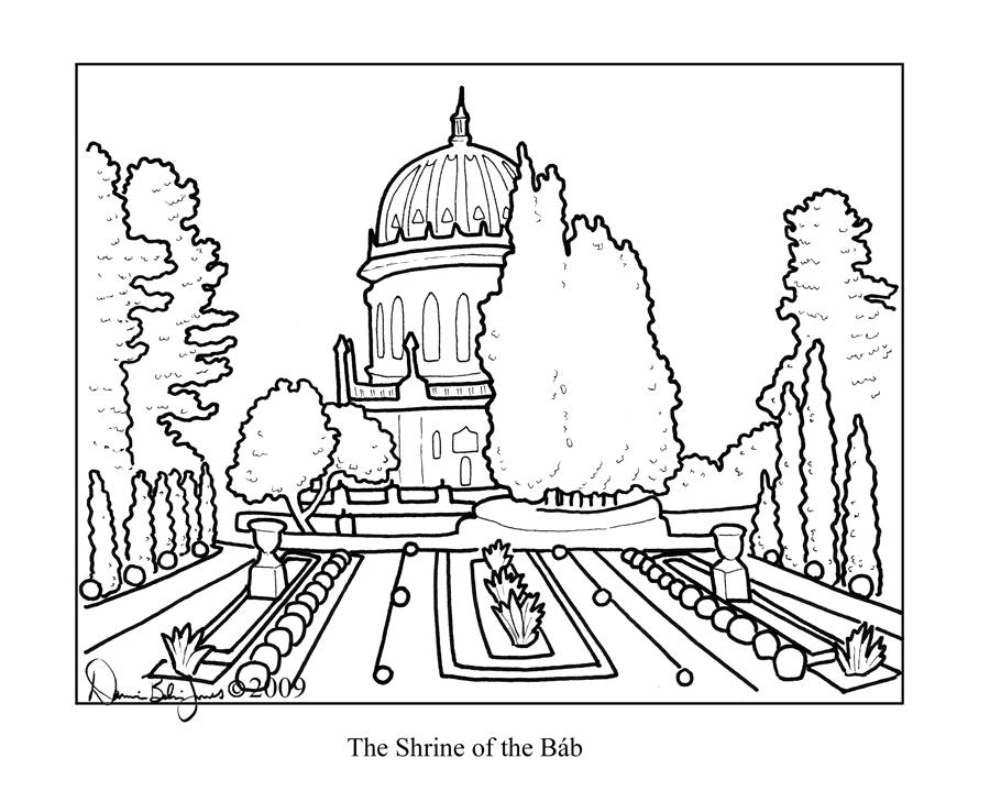 Shrine coloring #15, Download drawings