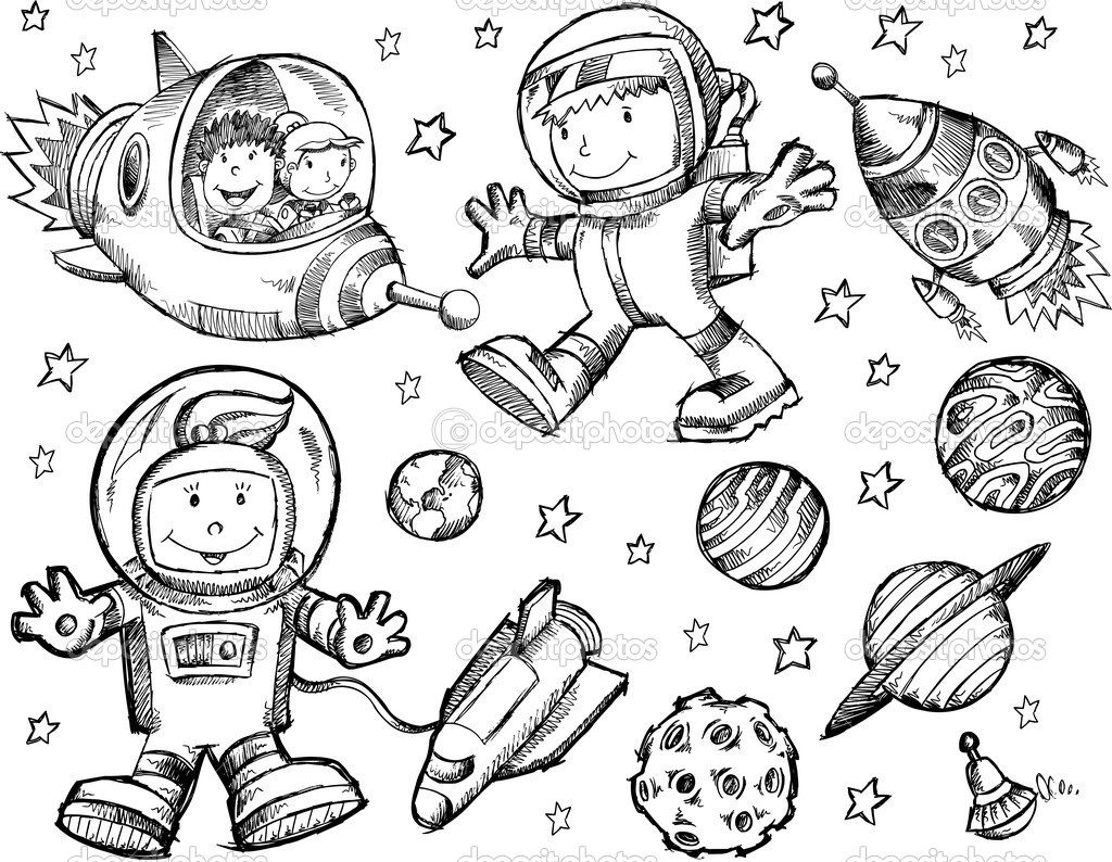 Space coloring #2, Download drawings