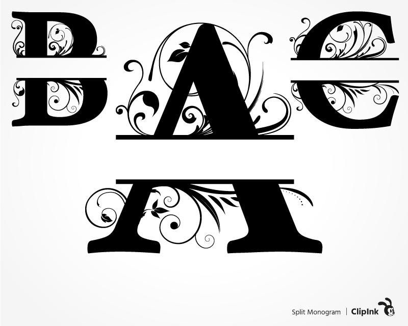 split monogram svg #1118, Download drawings
