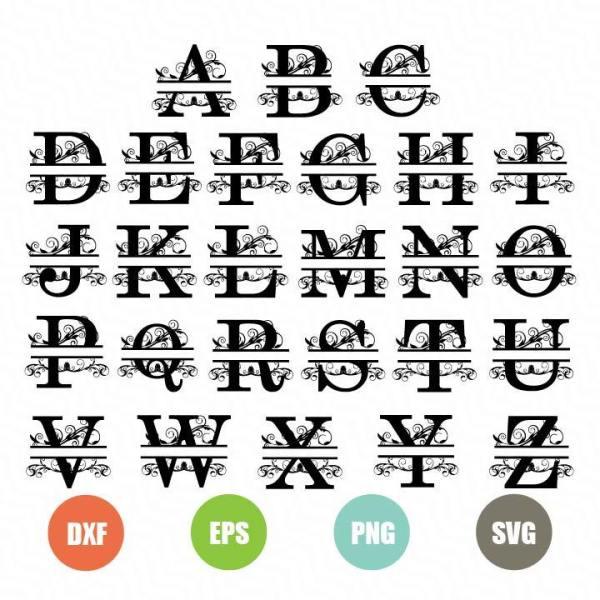 split monogram svg #1126, Download drawings