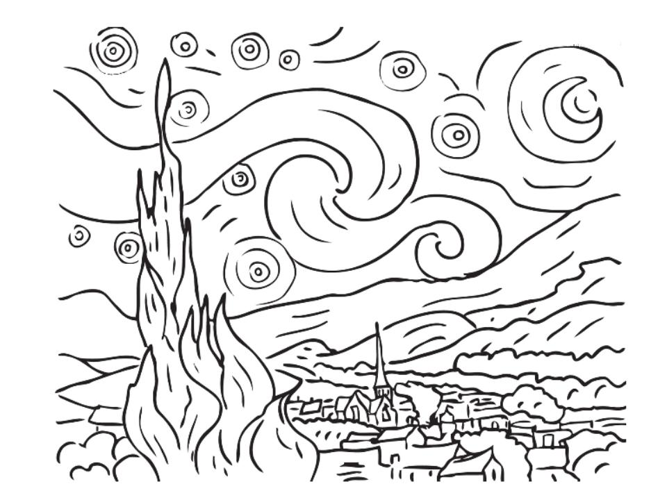 starry night coloring pages - starry sky coloring download starry sky coloring