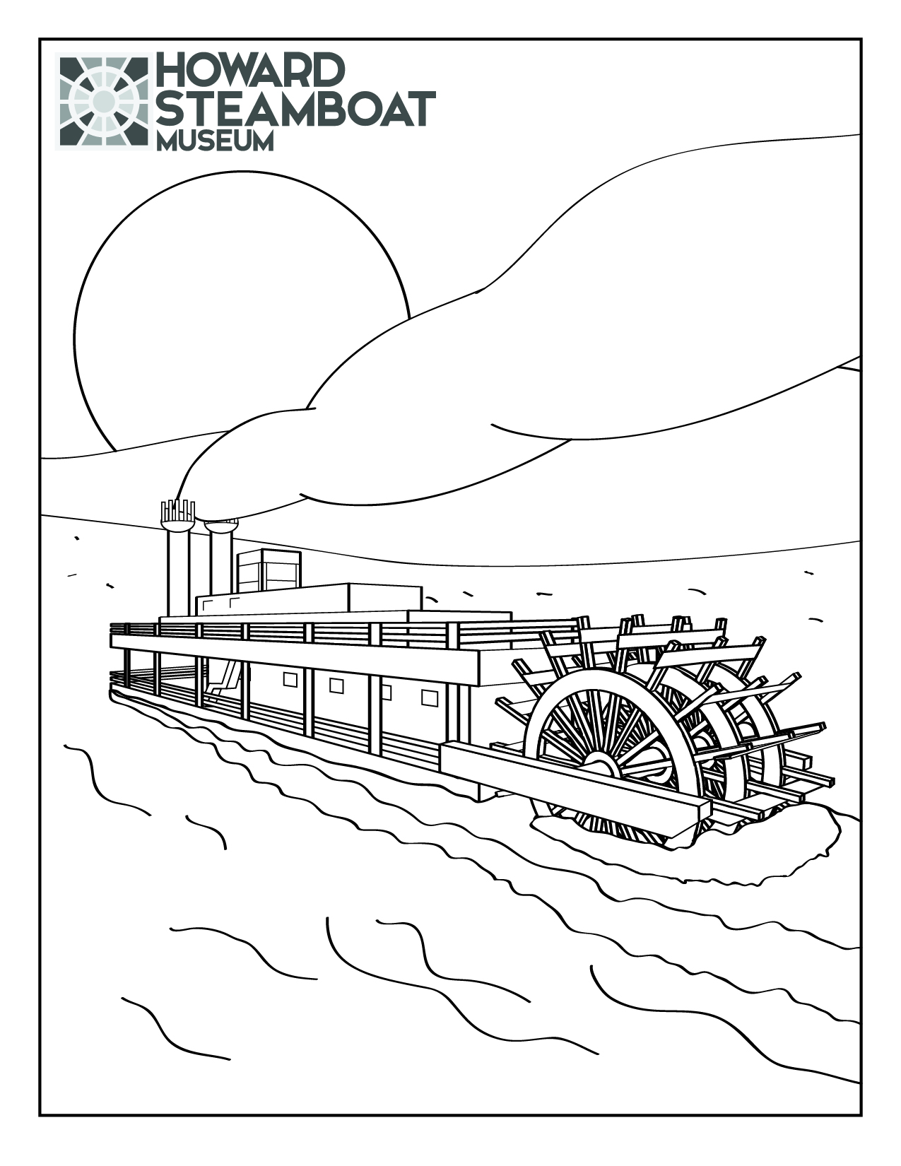 Steamboat coloring #1, Download drawings