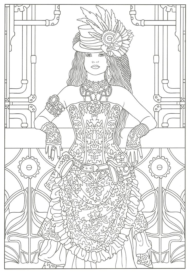 Free Adult Coloring Old Fashion Dresses