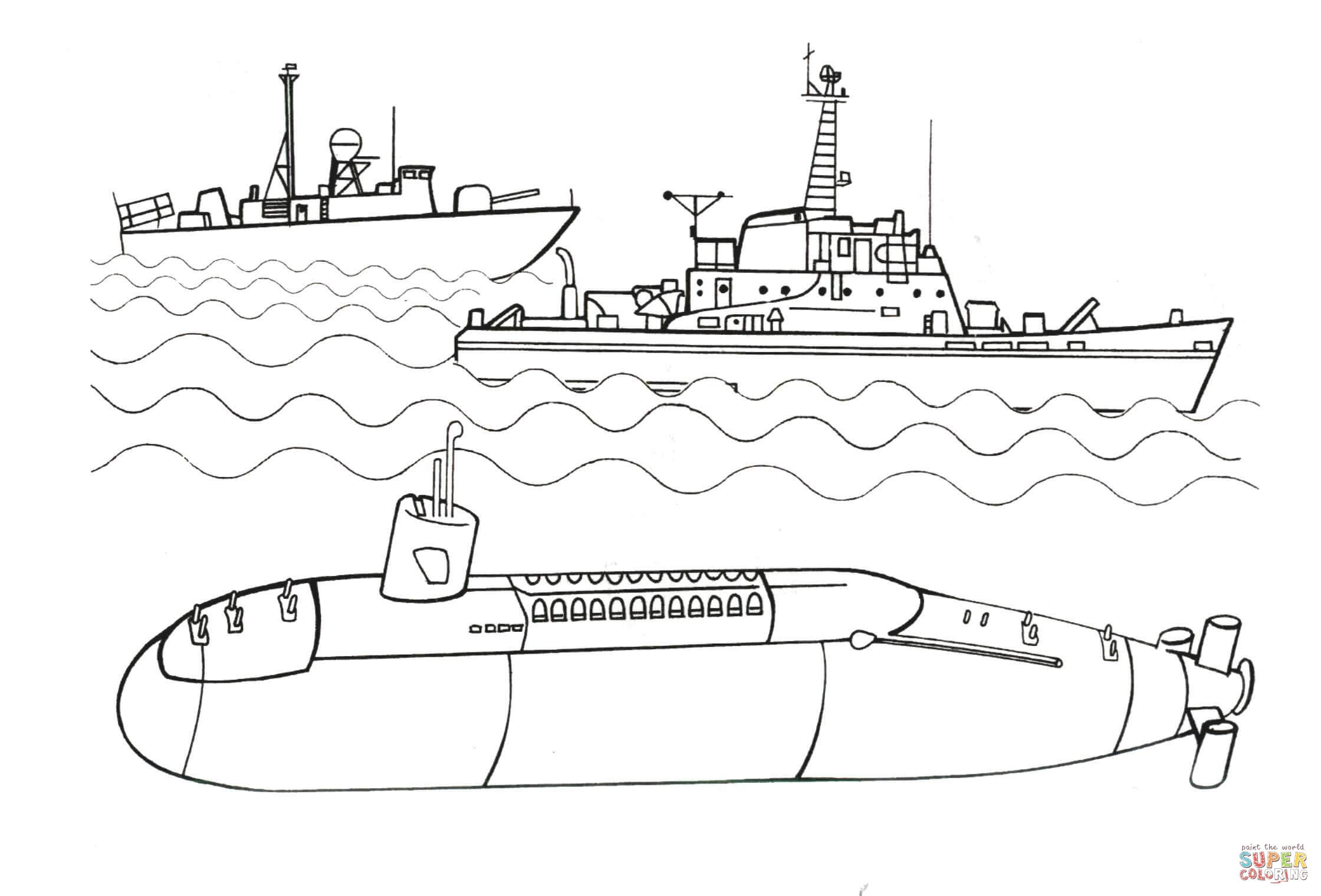 Submarine coloring #13, Download drawings