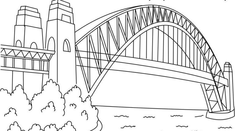 Sydney Harbour Bridge coloring #3, Download drawings