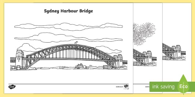 Sydney Harbour Bridge coloring #14, Download drawings