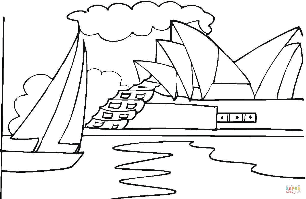 Sydney Opera House coloring, Download Sydney Opera House coloring