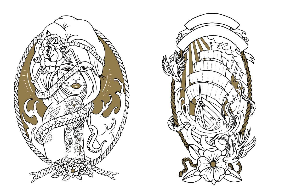 Tattoo coloring #12, Download drawings
