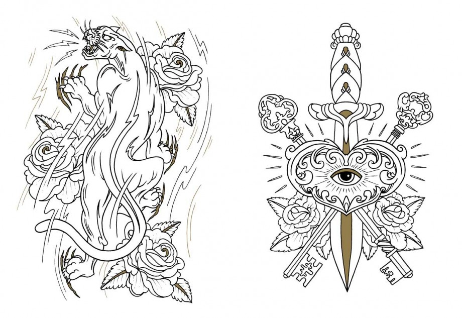 Tattoo coloring #4, Download drawings