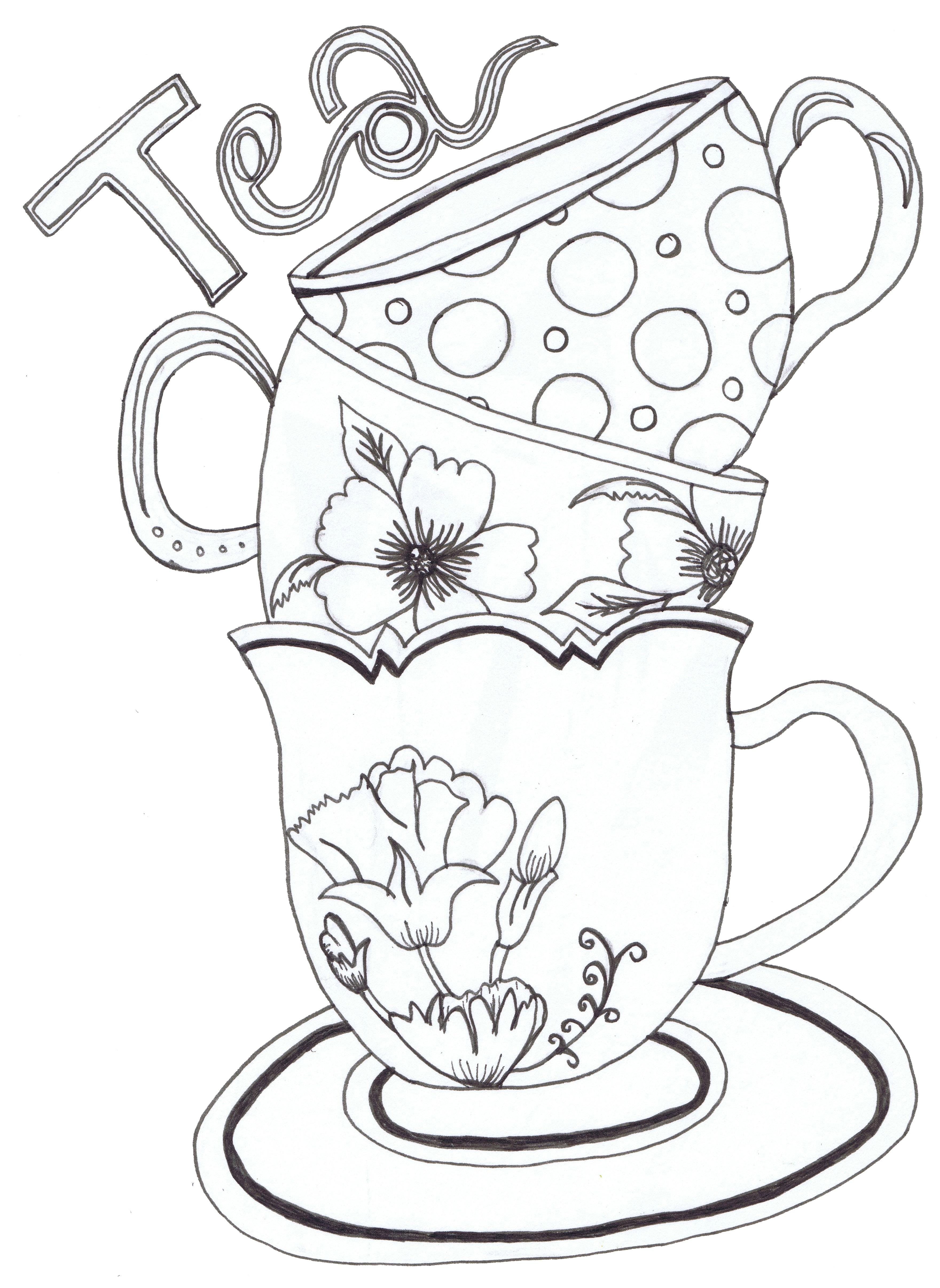 Tea Cup coloring #1, Download drawings