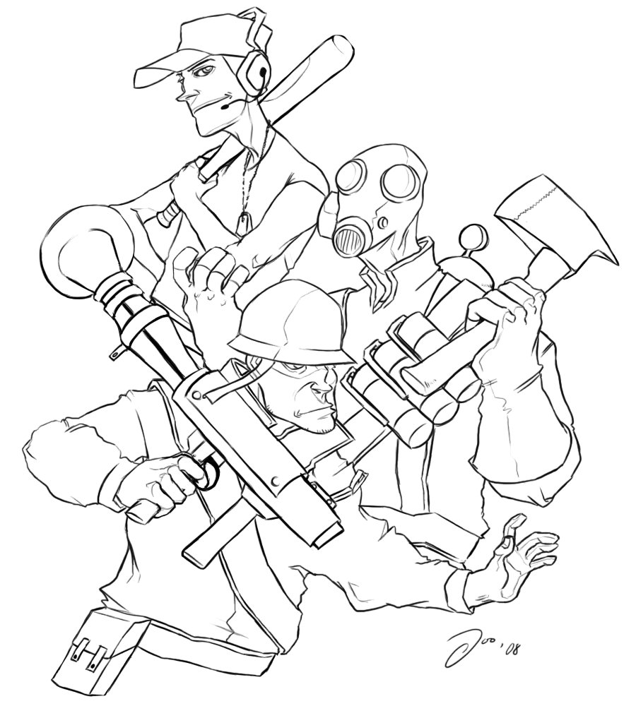 Team Fortress 2 coloring #1, Download drawings