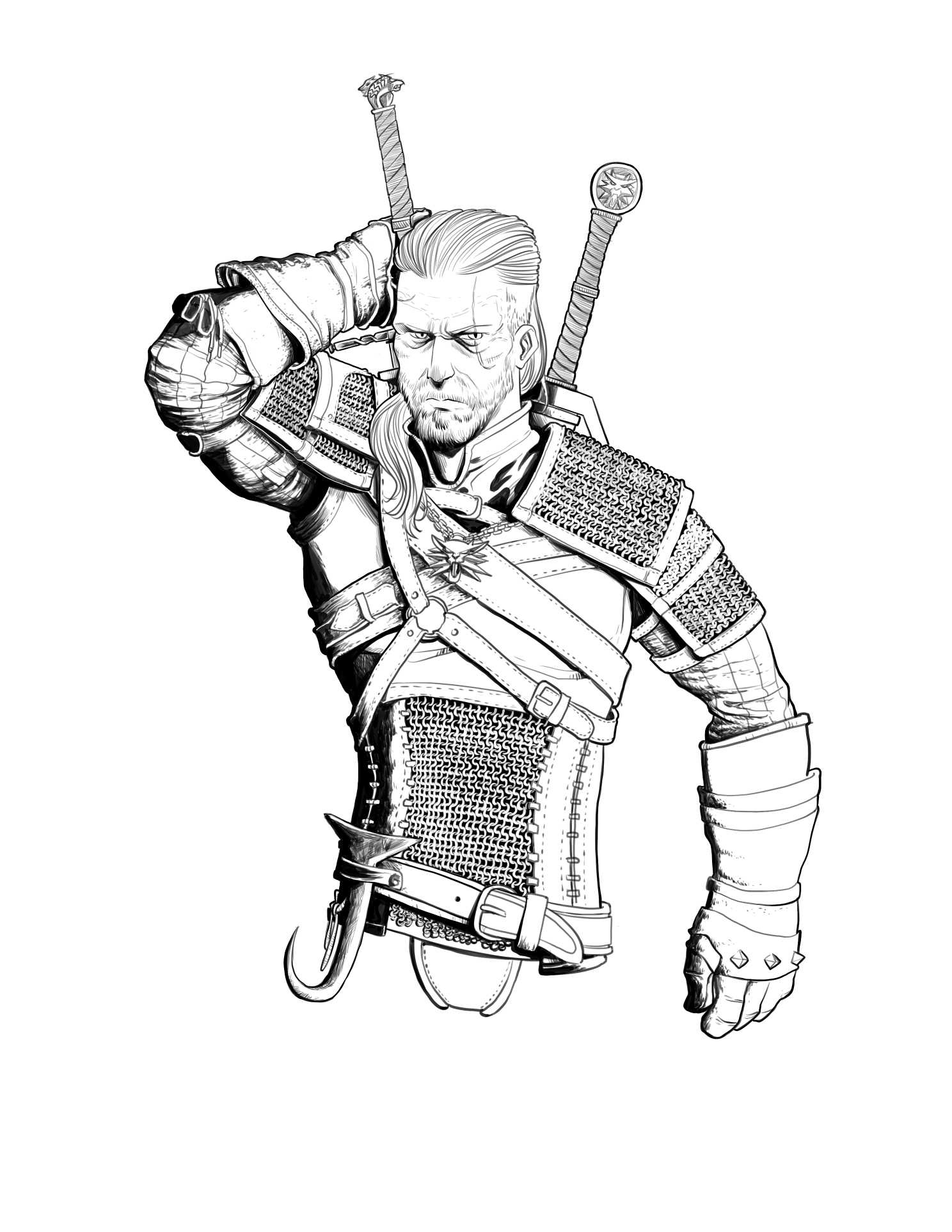 The Witcher coloring #9, Download drawings