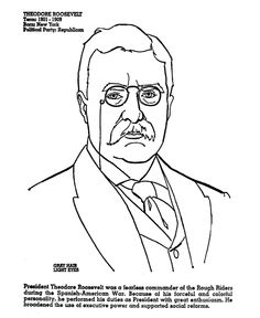 Theodore Roosevelt coloring #18, Download drawings