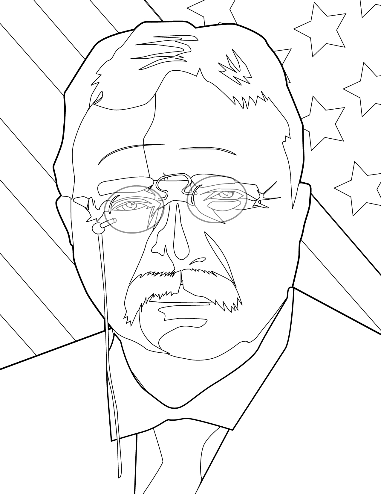 Theodore Roosevelt coloring #5, Download drawings