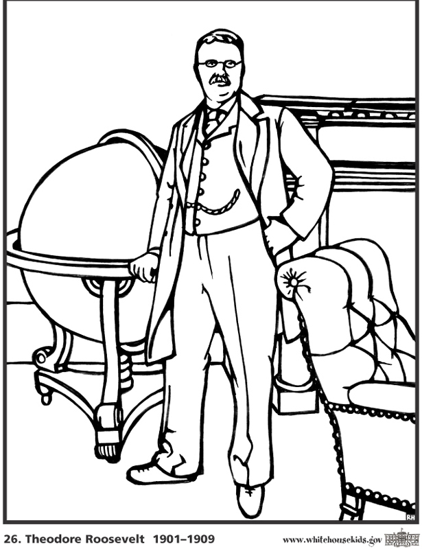 Theodore Roosevelt coloring #9, Download drawings
