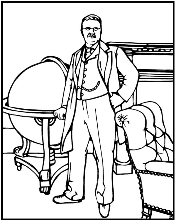 Theodore Roosevelt coloring #19, Download drawings