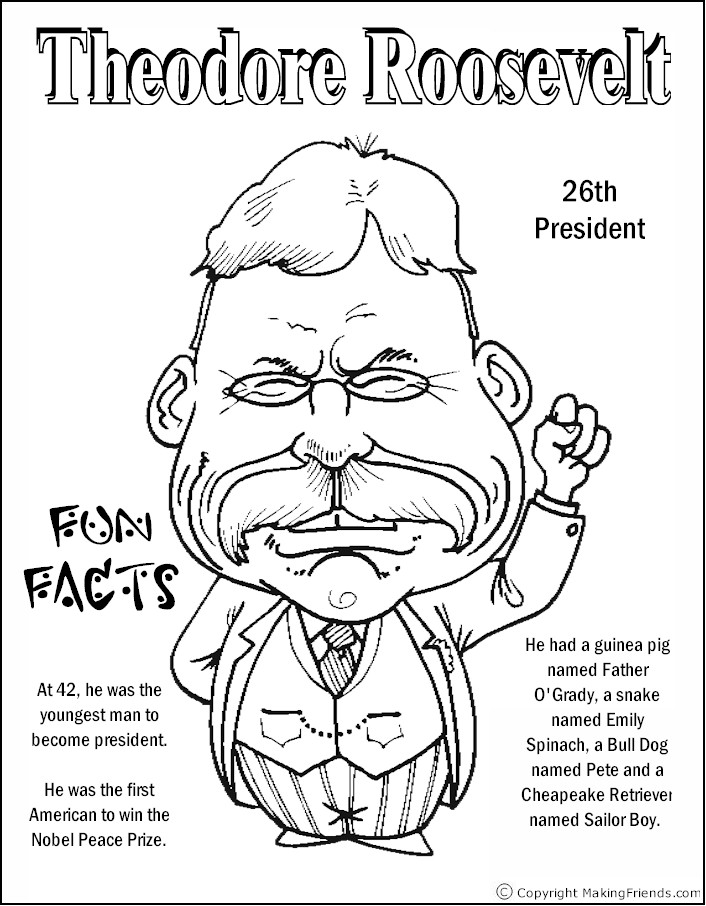Theodore Roosevelt coloring #15, Download drawings