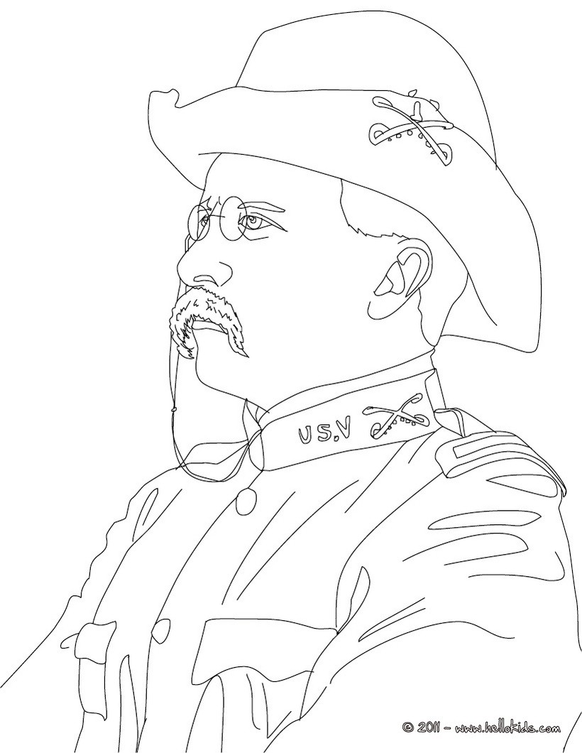 Theodore Roosevelt coloring #7, Download drawings