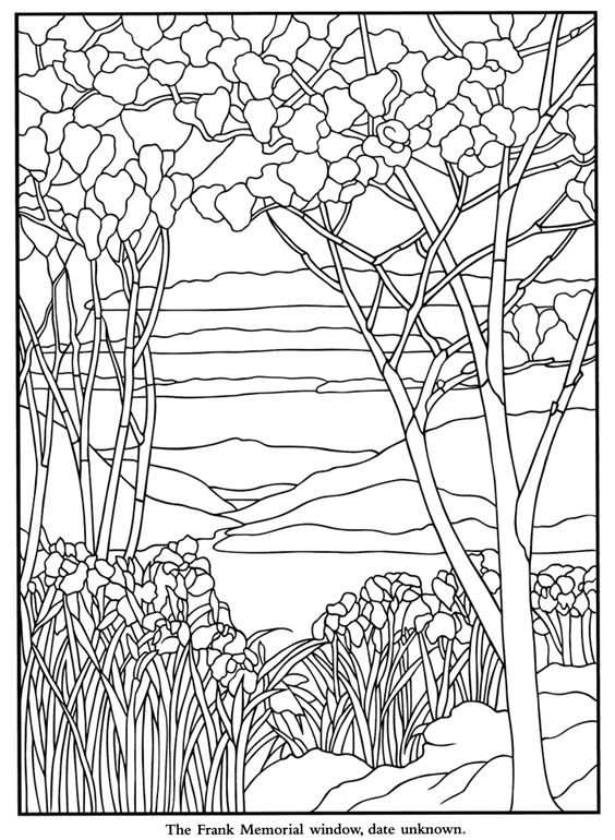 Summary -> Tiffany Designs Stained Glass Coloring Book Dover Design