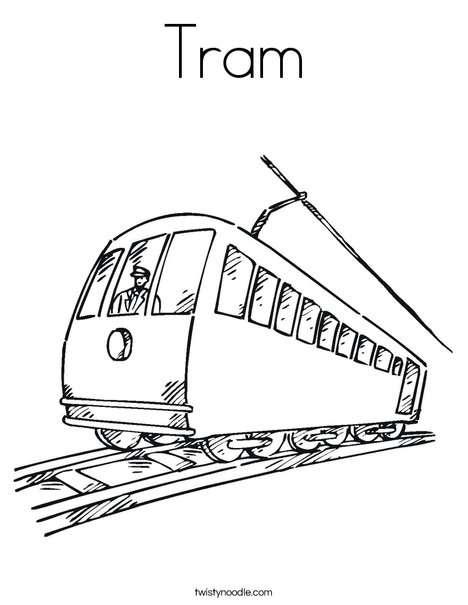 Tram coloring #19, Download drawings