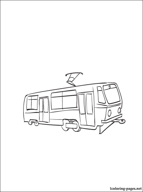 Tram coloring #1, Download drawings