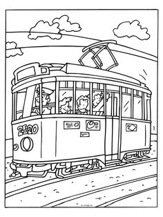 Tram coloring #11, Download drawings