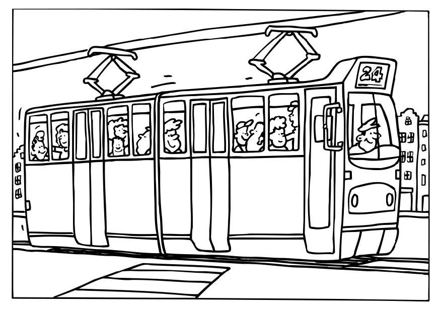 Tram coloring #8, Download drawings