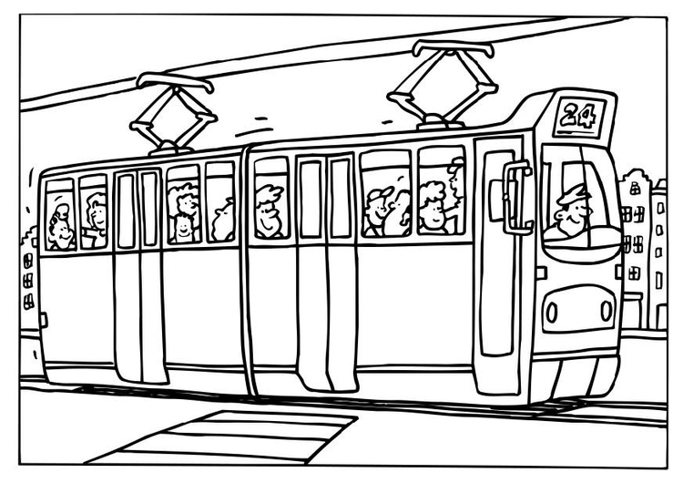 Tram coloring #3, Download drawings
