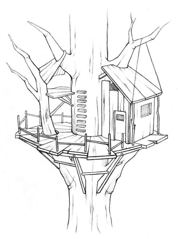 Treehouse coloring #8, Download drawings