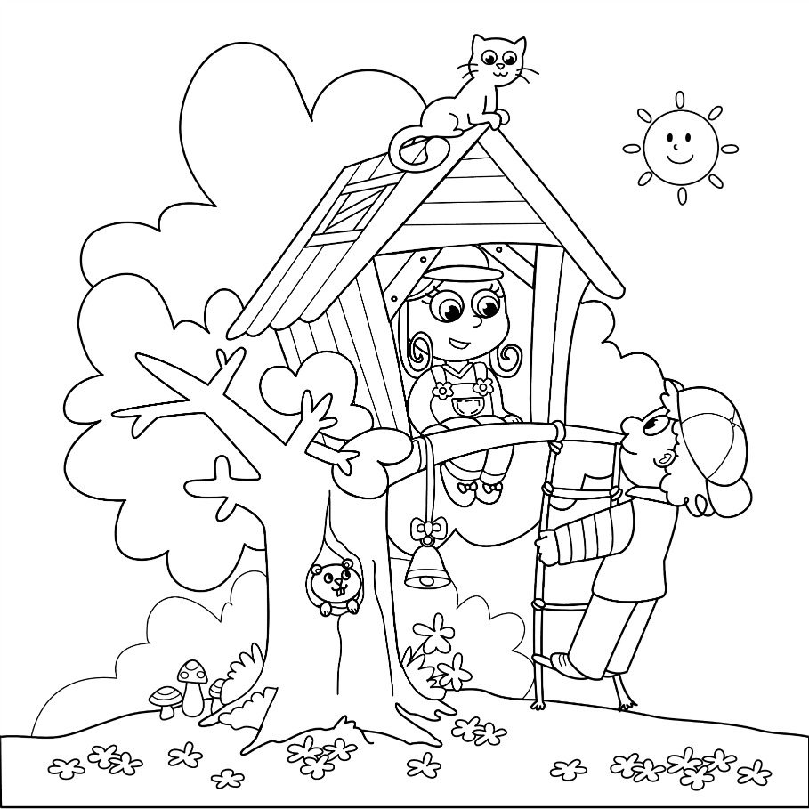 Treehouse coloring #2, Download drawings