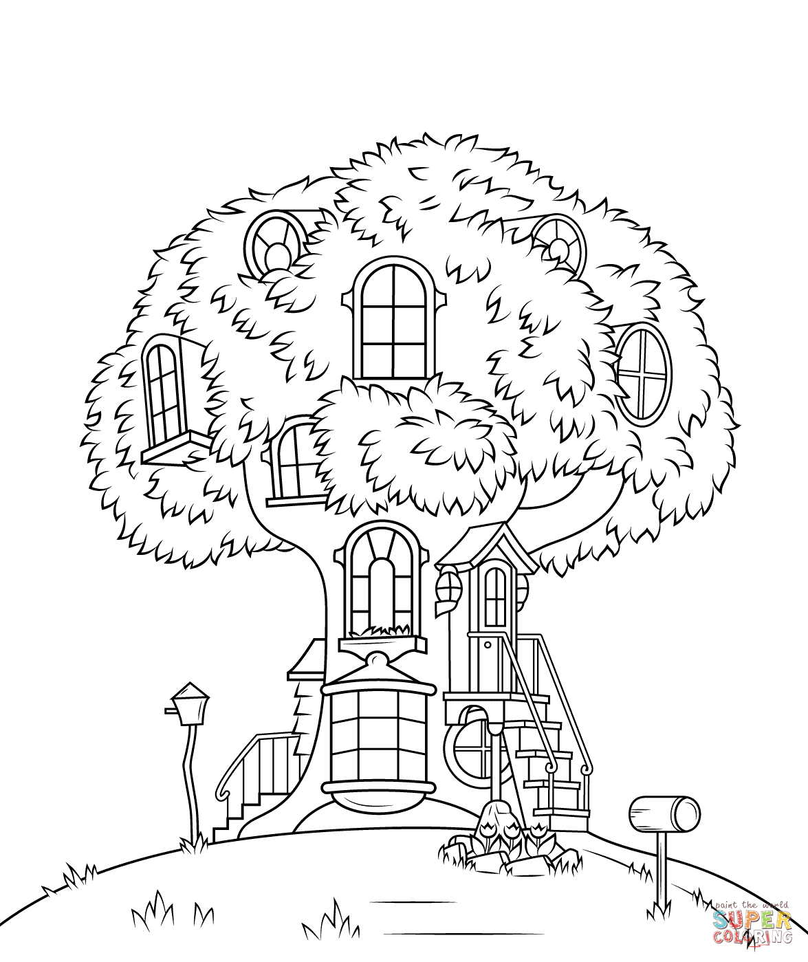 Treehouse coloring #14, Download drawings