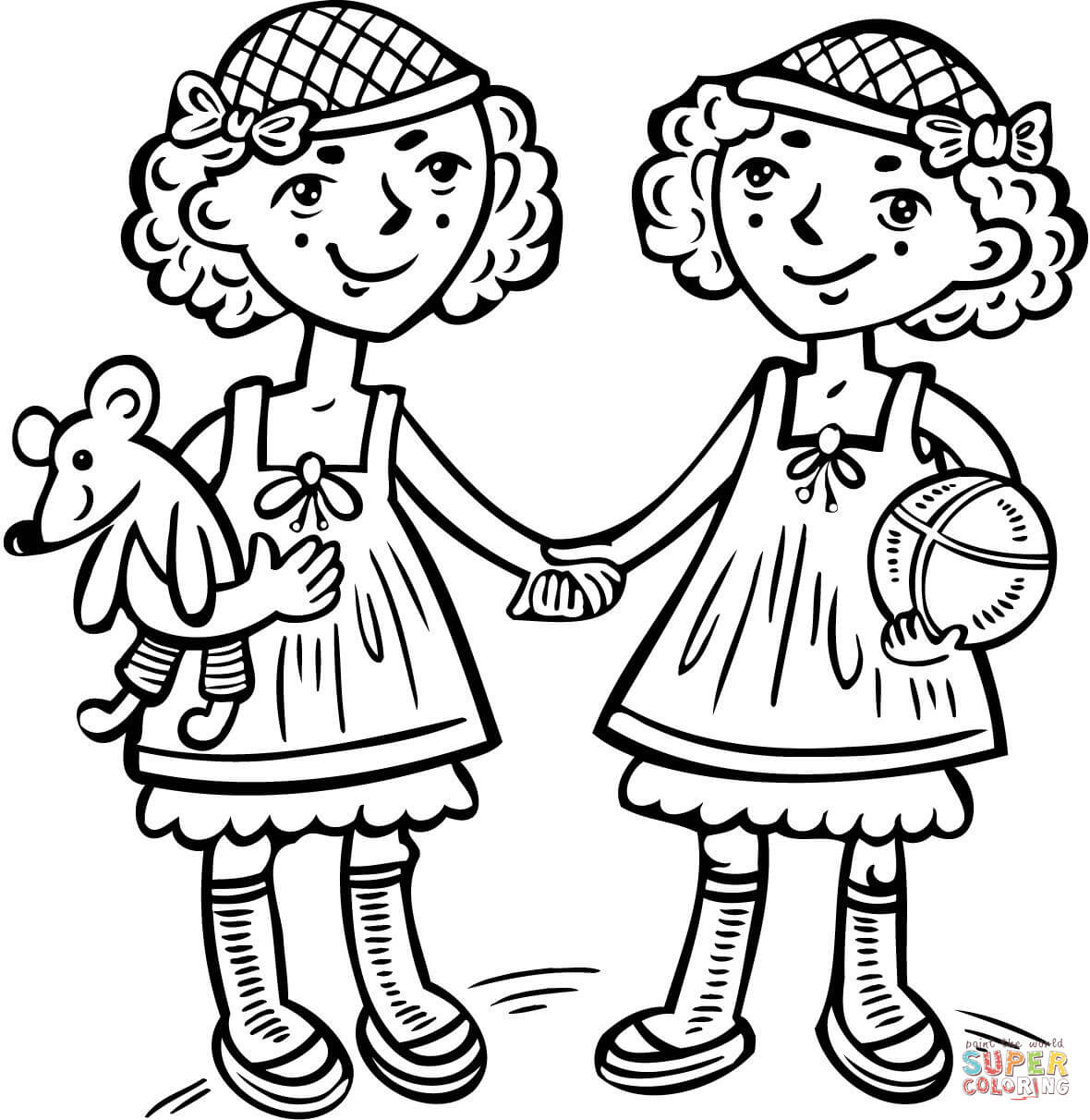 Twins coloring #10, Download drawings