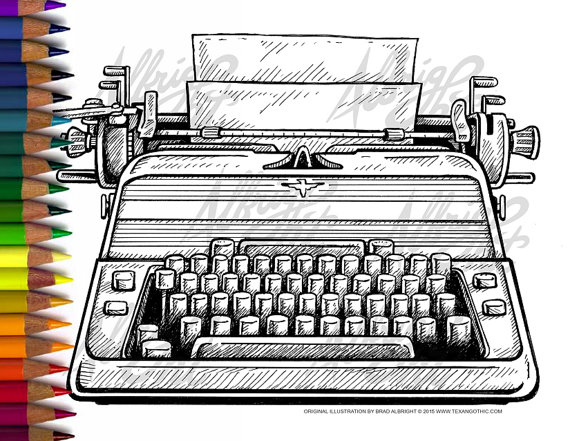 Typewriter coloring #17, Download drawings