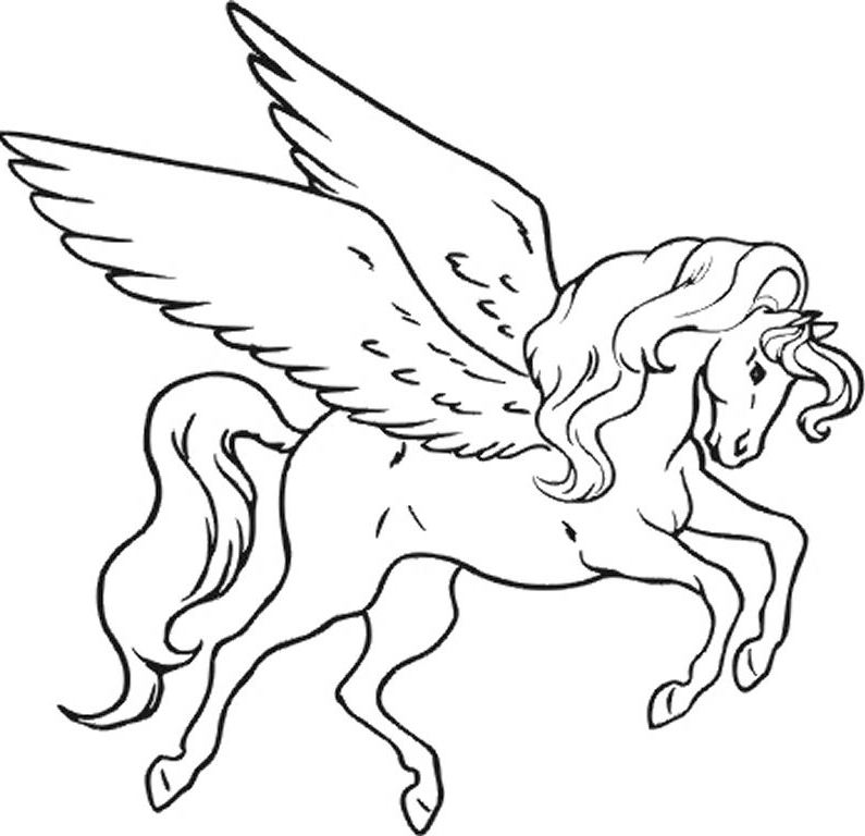 Unicorn coloring #9, Download drawings