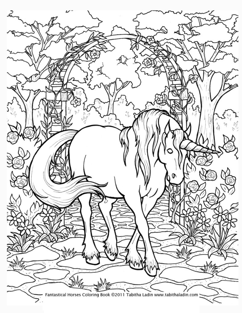 Unicorn coloring #6, Download drawings
