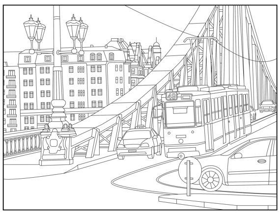 Urban coloring #9, Download drawings