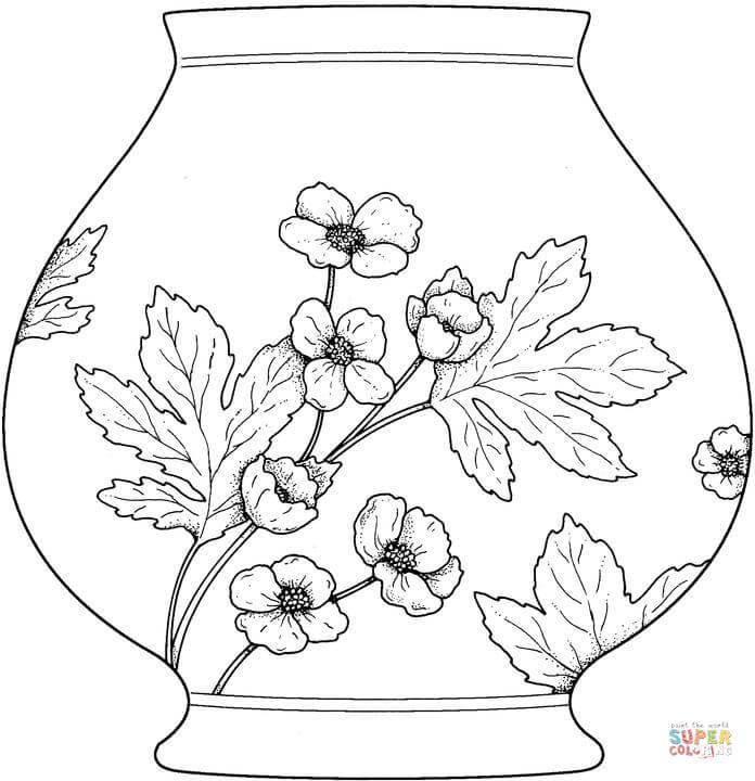 Vase coloring #14, Download drawings