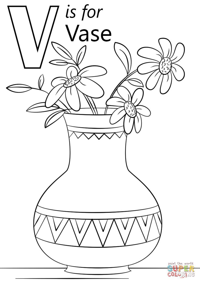 Vase coloring #3, Download drawings