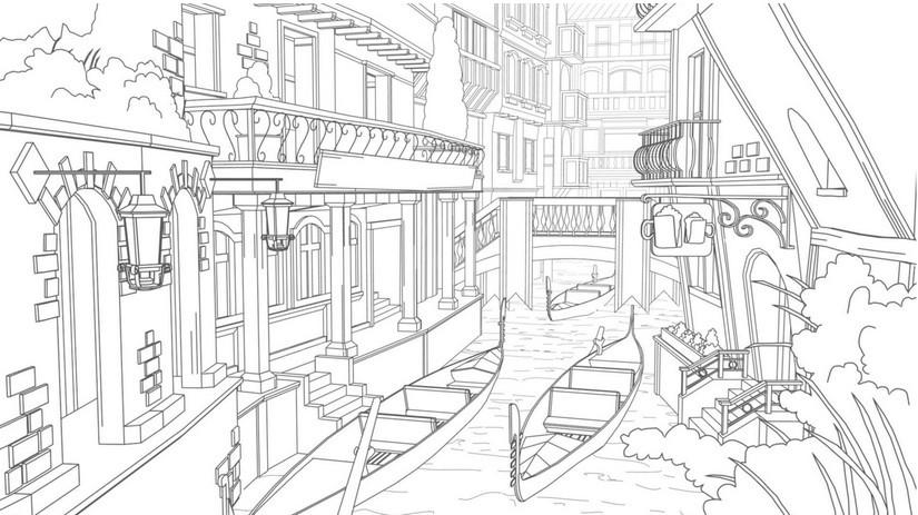 Venice coloring #6, Download drawings