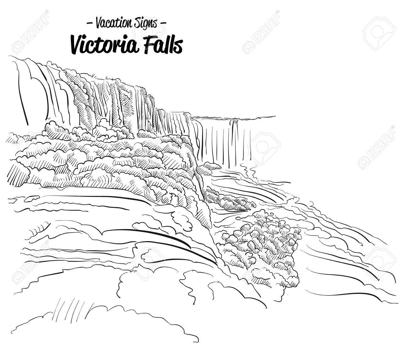Victoria Falls coloring #10, Download drawings
