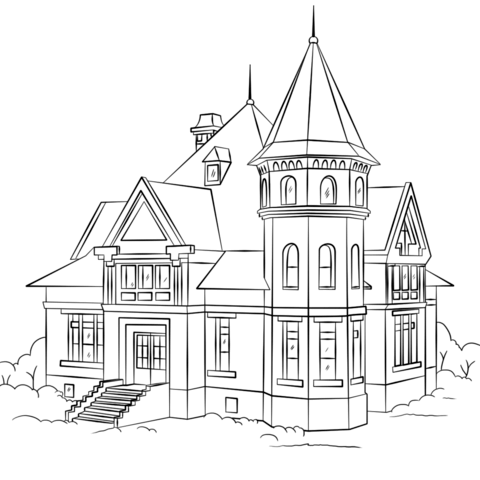 Mansion coloring #15, Download drawings