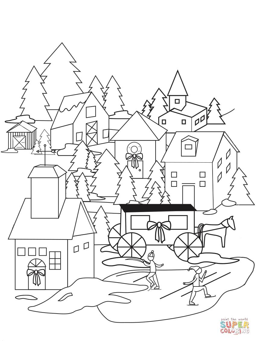 Village coloring #4, Download drawings