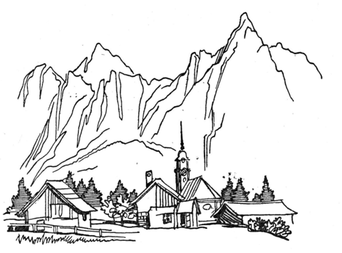 Village coloring #11, Download drawings