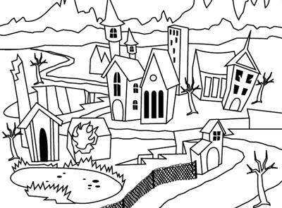 Village coloring #18, Download drawings